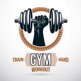 Αθλητικό διανυσματικό έμβλημα Bodybuilding και ικανότητας που γίνεται χρησιμοποίηση μυϊκή απεικόνιση αποθεμάτων