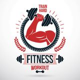 Αθλητικό διανυσματικό έμβλημα Bodybuilding και ικανότητας που γίνεται χρησιμοποίηση μυϊκή ελεύθερη απεικόνιση δικαιώματος