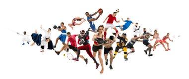 Αθλητικό κολάζ για, ποδόσφαιρο, αμερικανικό ποδόσφαιρο, καλαθοσφαίριση, χόκεϋ πάγου, μπάντμιντον, taekwondo, αντισφαίριση, ράγκμπ στοκ εικόνα