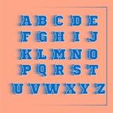 Αθλητικό τρισδιάστατο διανυσματικό μπλε αλφάβητου Στοκ Εικόνα