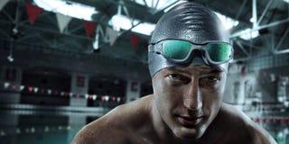 Αθλητικό υπόβαθρο Κολυμβητής με τα γυαλιά στοκ εικόνα με δικαίωμα ελεύθερης χρήσης