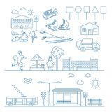 Αθλητισμός και κοινωνία στο ύφος γραμμών Λεπτά εικονίδια γραμμών καθορισμένα Στοκ Εικόνα