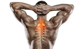 Αθλητισμός και υγειονομική περίθαλψη Πόνος σπονδυλικών στηλών στοκ φωτογραφίες