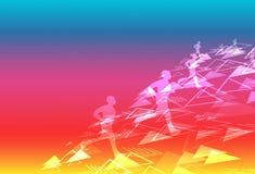 Αθλητισμός και υγιής ψηφιακή τεχνολογία δημιουργικό τρέχοντας φ τριγώνων ελεύθερη απεικόνιση δικαιώματος