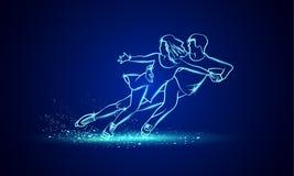 Αθλητισμός πατινάζ αριθμού ζευγαριού Μπλε γραμμικός αριθμός ζευγαριού νέου που κάνει πατινάζ σε ένα μαύρο υπόβαθρο ελεύθερη απεικόνιση δικαιώματος