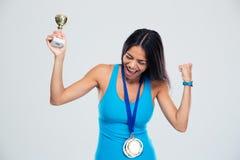 Αθλήτρια που γιορτάζει την επιτυχία του Στοκ Φωτογραφίες