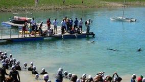 Αθλητές που κολυμπούν σε μια λίμνη πριν από την έναρξη ένα triatlhon απόθεμα βίντεο
