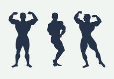 Αθλητές σκιαγραφιών ατόμων Θέτει τα bodybuilders διάνυσμα διανυσματική απεικόνιση