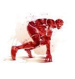 Αθλητής σκιαγραφιών Watercolor στη διαδρομή που αρχίζει να τρέχει Στοκ φωτογραφία με δικαίωμα ελεύθερης χρήσης