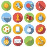 Αθλητικά εικονίδια καθορισμένα, χρωματισμένο επίπεδο Στοκ φωτογραφίες με δικαίωμα ελεύθερης χρήσης