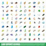 100 αθλητικά εικονίδια καθορισμένα, isometric τρισδιάστατο ύφος Στοκ Φωτογραφία