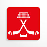 Αθλητικά σημάδια χόκεϋ διάνυσμα εικονιδίων εργαλείων Κόκκινη και άσπρη εικόνα σε ένα ελαφρύ υπόβαθρο με μια σκιά ελεύθερη απεικόνιση δικαιώματος