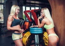 Αθλητικές νέες γυναίκες που στηρίζονται κατά τη διάρκεια της άσκησης Στοκ Φωτογραφία
