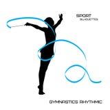 Αθλητικές σκιαγραφίες. Γυμναστική ρυθμική. κορίτσι με την κορδέλλα Στοκ φωτογραφία με δικαίωμα ελεύθερης χρήσης