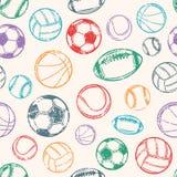 Αθλητικές σφαίρες, υπόβαθρο Grunge, άνευ ραφής σχέδιο Στοκ φωτογραφία με δικαίωμα ελεύθερης χρήσης
