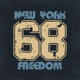 Αθλητική ένδυση της Νέας Υόρκης με την ελευθερία εγγραφής διανυσματική απεικόνιση