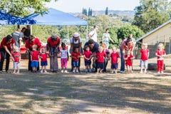 Αθλητική ημέρα των προσχολικών παιδιών Στοκ φωτογραφίες με δικαίωμα ελεύθερης χρήσης
