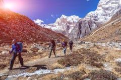 Αθλητική ομάδα των ορειβατών βουνών που περπατούν στο μονοπάτι Στοκ Εικόνες