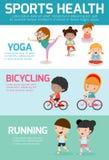 Αθλητική υγεία Infographics, αθλητική υγεία, αθλητική υγεία παιδιών, αθλητική υγεία παιδιών, διανυσματική απεικόνιση Στοκ Φωτογραφία