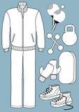 Αθλητικό κοστούμι με τους εξοπλισμούς Στοκ εικόνες με δικαίωμα ελεύθερης χρήσης