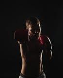 Αθλητικός γενειοφόρος μπόξερ με τα γάντια σε ένα σκοτεινό υπόβαθρο Στοκ Φωτογραφία