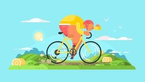 Αθλητικός τύπος ποδηλατών στο ποδήλατο διανυσματική απεικόνιση