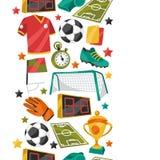 Αθλητικό άνευ ραφής σχέδιο με το ποδόσφαιρο ποδοσφαίρου Στοκ εικόνες με δικαίωμα ελεύθερης χρήσης