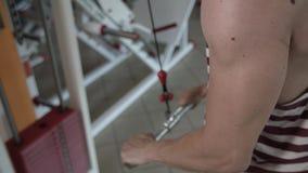 Αθλητικό άτομο που εργάζεται στη γυμναστική απόθεμα βίντεο