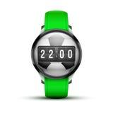Αθλητικό έξυπνο ρολόι με τη χρονική και ποδοσφαίρου σφαίρα Στοκ φωτογραφία με δικαίωμα ελεύθερης χρήσης