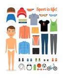 Αθλητικό αγόρι Ιματισμός και αθλητικός εξοπλισμός για απεικόνιση αποθεμάτων