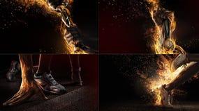 Αθλητικό κολάζ με την πυρκαγιά και την ενέργεια στοκ εικόνα