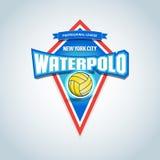 Αθλητικό λογότυπο πόλο νερού, ετικέτα, έμβλημα Πρότυπο λογότυπων διακριτικών πόλο νερού, γραφική παράσταση αθλητικών μπλουζών επί Στοκ φωτογραφία με δικαίωμα ελεύθερης χρήσης