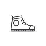 Αθλητικό παπούτσι, εικονίδιο γραμμών πάνινων παπουτσιών, διανυσματικό σημάδι περιλήψεων, γραμμικό εικονόγραμμα ύφους που απομονών διανυσματική απεικόνιση