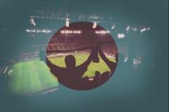 Αθλητικό στάδιο με τους ανεμιστήρες και τη σημαία συνδυασμού Ιαπωνία Στοκ φωτογραφίες με δικαίωμα ελεύθερης χρήσης