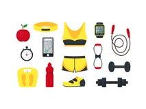 Αθλητικό σύνολο γυναικών κινούμενων σχεδίων διάνυσμα Στοκ Εικόνα
