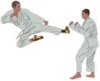 Αθλητικό karate ο τολμηρός τύπος ισχυρισμού tatami επίθεσης που η ανδρική δύναμη προσπάθειας αγωνίζεται λευκό επιχειρηματιών αγορ διανυσματική απεικόνιση