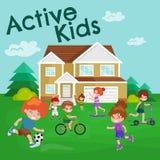 Αθλητισμός, αγόρι και κορίτσι παιδιών που παίζουν το ενεργό διάνυσμα παιχνιδιών Στοκ εικόνα με δικαίωμα ελεύθερης χρήσης