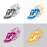 Αθλητισμός και λογότυπο ικανότητας Τρέχοντας εικονίδια παπουτσιών Στοκ φωτογραφία με δικαίωμα ελεύθερης χρήσης