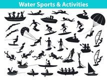 Αθλητισμός παραλιών θερινού νερού, σύνολο σκιαγραφιών δραστηριοτήτων διανυσματική απεικόνιση