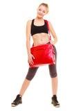 αθλητισμός Φίλαθλο κορίτσι ικανότητας sportswear με την τσάντα γυμναστικής Στοκ φωτογραφία με δικαίωμα ελεύθερης χρήσης