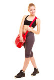 αθλητισμός Φίλαθλο κορίτσι ικανότητας sportswear με την τσάντα γυμναστικής Στοκ Φωτογραφία