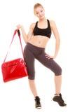 αθλητισμός Φίλαθλο κορίτσι ικανότητας sportswear με την τσάντα γυμναστικής Στοκ εικόνα με δικαίωμα ελεύθερης χρήσης