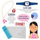 Αθλητισμός infographic για τις γυναίκες επίσης corel σύρετε το διάνυσμα απεικόνισης στοκ εικόνα
