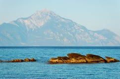 αιγαία θάλασσα βουνών athos Στοκ Φωτογραφία