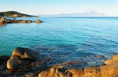 αιγαία θάλασσα βουνών athos Στοκ Εικόνες