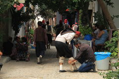 Αιγαία περιοχή - νησί Tenedos, δράστες και κοστούμια ιστορίας αγάπης τελευταίων επιστολών κινηματογράφων στοκ φωτογραφία με δικαίωμα ελεύθερης χρήσης