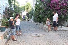 Αιγαία περιοχή - νησί Tenedos, τέχνη, στα καταστήματα, σπίτια στοκ φωτογραφία