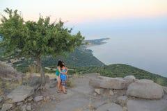 Αιγαία περιοχή - Assos Castle, ηλιοβασίλεμα στο ναό Αθηνάς, στοκ εικόνες με δικαίωμα ελεύθερης χρήσης