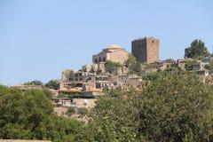 Αιγαία περιοχή - Assos Castle, τοπίο Αιγαίων πελαγών από Behramkale στοκ εικόνες
