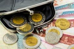 Αιγυπτιακές λίβρες σε ένα μαύρο ανοικτό πορτοφόλι Νομίσματα και clos τραπεζογραμματίων Στοκ εικόνες με δικαίωμα ελεύθερης χρήσης